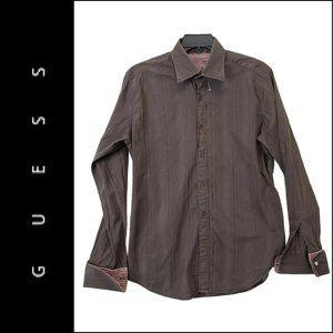 Guess Men's utton Down Shirt Size Large L Brown
